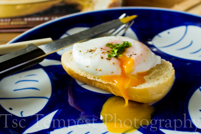 Today's Sandwich – Open-faced Poached Egg Baguette