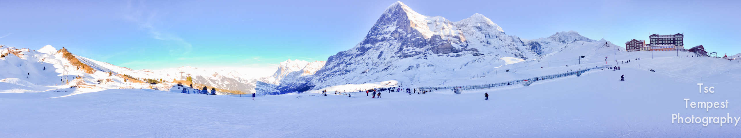 Beginners Ski Slopes beneath the gaze of the North Wall of the Eiger, Switzerland