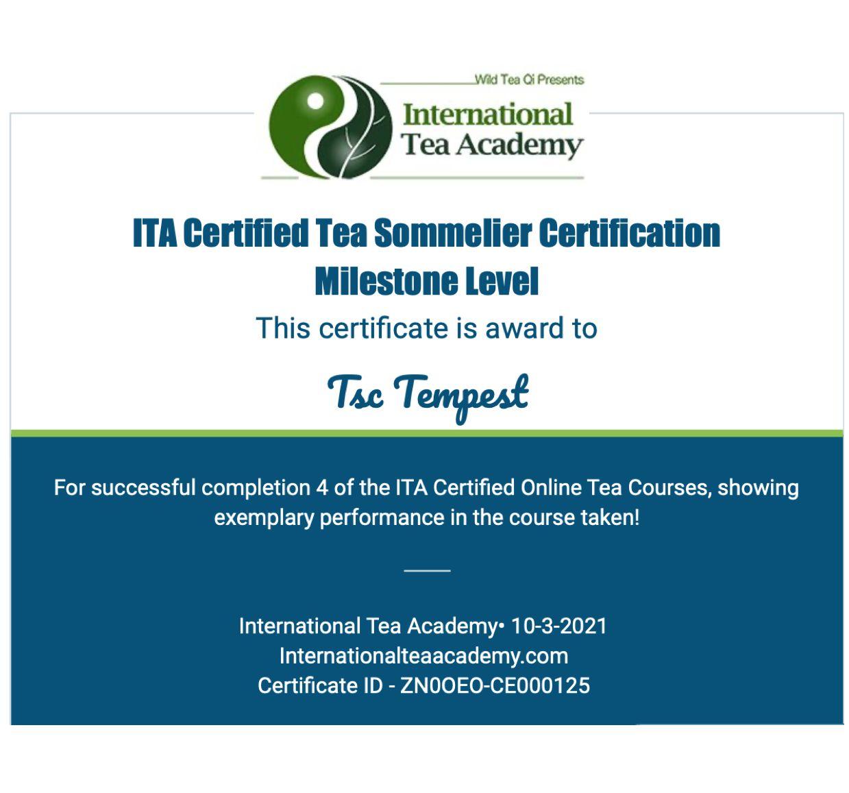 ITA Certified Tea Sommelier Certificate (Update)